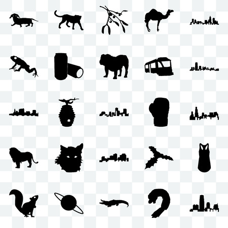 Set Of 25 transparent icons such as new jersey, shrimp, alligator, saturn, , boxing glove, louisiana, lion, frog, mistletoe, cheetah, web UI transparency icon pack