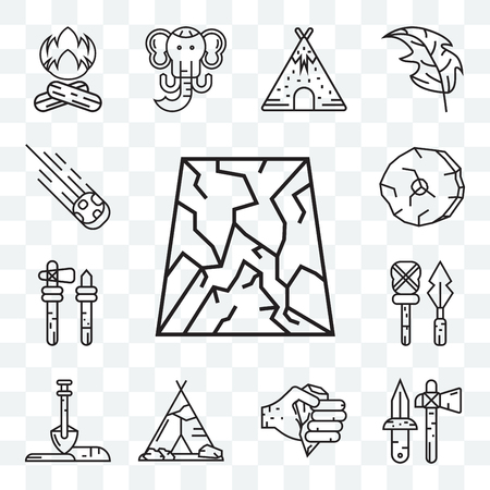 Set Of 13 transparent editable icons such as Cave, Axe, Tipi, Shovel, Weapon, Wheel, Meteorite, web ui icon pack