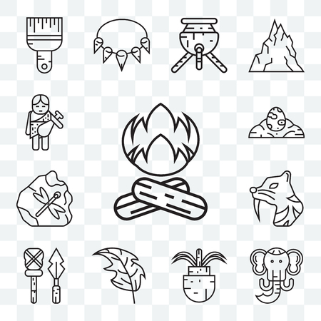Set Of 13 transparent editable icons such as Bonfire, Mammoth, Plant, Leaf, Weapon, Saber toothed tiger, Fossil, Dinosaur egg, Troglodyte, web ui icon pack Illustration
