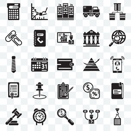 Set Of 25 transparent icons such as Hook, Boss, Dollar, Circular clock, Judging, Maps and Flags, Stats, Contract, Agreement, Attachments, Flats, Line graph, web UI transparency icon pack