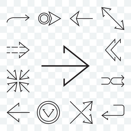 Set Of 13 transparent editable icons such as Right arrow, U turn, Crossed arrows, Down Left Shuffle, Minimize, chevron, web ui icon pack Ilustrace