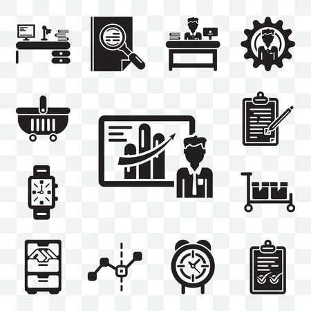 Ensemble de 13 icônes modifiables transparentes telles que présentation d'entreprise, coche, horloge circulaire, graphique en ligne, matériel de bureau, emballage, montres, contrat, boutique en ligne, pack d'icônes web ui