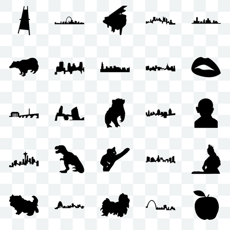 Set Of 25 transparent icons such as apple, st louis, shih tzu, missouri, lips, cincinnati, koala, seattle, badger, grand piano, web UI transparency icon pack