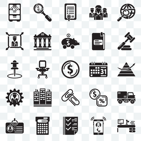 Set Of 25 transparent icons such as Studying, Ringing, Check box, Calculating, Id card, Judging, Weekly calendar, Attachments, Men, Boss, Agreement, Dollar, web UI transparency icon pack Illustration