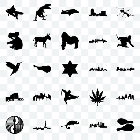 Set Of 25 transparent icons such as turkey leg, kentucky state, chameleon, paris, yin yang, ninja, london, semi truck, koala, chalk, t rex, web UI transparency icon pack 向量圖像