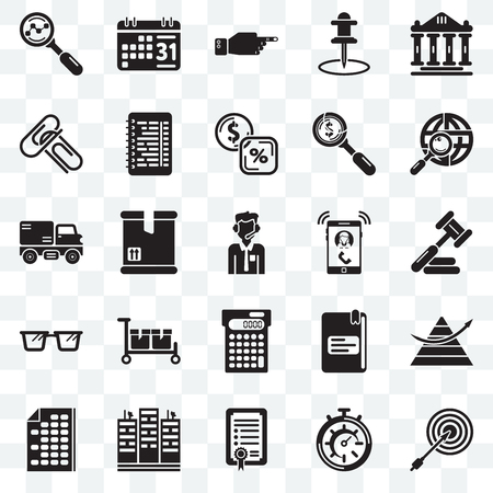 Set Of 25 transparent icons such as Dart board, Judging, Maps and Flags, Weekly calendar, Office material, Text lines, School Trucking, web UI transparency icon pack, pixel perfect