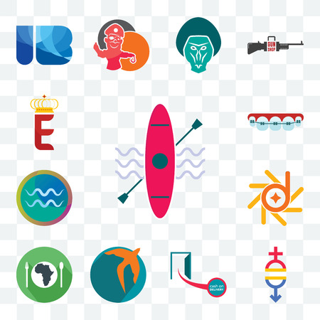 Set Of 13 transparent editable icons such as kayak, gender equality, cash on delivery, swift, hunger, d-star, aquarius, orthodontist, e crown, web ui icon pack Illustration
