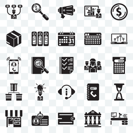 Set Of 25 transparent icons such as Studying, Ancient, Accessory, Id card, Online store, Line chart, Network, Customer service, Offices, Packing, Protest, Dollar, web UI transparency icon pack