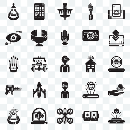 Set Of 25 transparent icons such as Hologram, Vr glasses, Drone, Tree, Smartwatch, Smartphone, Smart house, Eye scan, web UI transparency icon pack