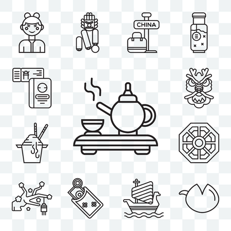Set Of 13 transparent editable icons such as Tea ceremony, Fortune cookie, Ship, Money, Sakura, Pa kua mirror, Noodles, Dragon, Tickets, web ui icon pack Standard-Bild - 111896695