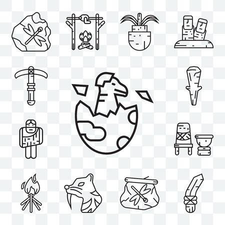 Set Of 13 transparent editable icons such as Dinosaur, Knife, Dried insect in amber, Saber toothed tiger, Bonfire, Mortar, Troglodyte, Club, Pick, web ui icon pack Illustration