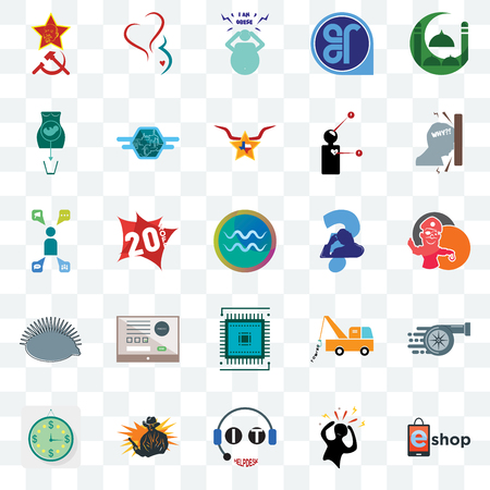 Set Of 25 transparent icons such as eshop, panic, it helpdesk, outlaw, estimate, frustration, scratching head, sem, hedgehog, abortion, obesity, gynecology, web UI transparency icon pack