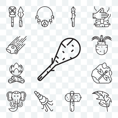Set Of 13 transparent editable icons such as Cudgel, Leaf, Axe, Shellfish, Mammoth, Bonfire, Plant, Meteor, web ui icon pack