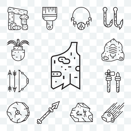 Set Of 13 transparent editable icons such as Clothes, Meteor, Cave painting, Spear, Wheel, Axe, Bow and arrow, Rock art, Plant, web ui icon pack