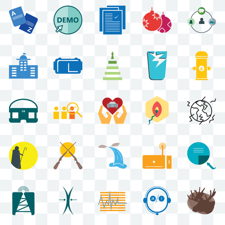 Set Of 25 transparent icons such as moose, live support, tracker, elastic, cell tower, fire hydrant, penetration, waterfall, shepherd, municipal, specification, demo, web UI transparency icon pack