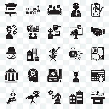 Set Of 25 transparent icons such as Store, Building, Strategy, Telescope, Growth, Handshake, Padlock, Report, Bank, Planning, Meeting, Path, web UI transparency icon pack Vector Illustration