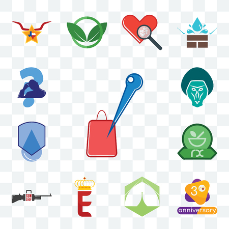 Set Of 13 transparent editable icons such as store locator, 3rd anniversary, marquee, e crown, gun shop, pharmacy, waterproof, baboon, scratching head, web ui icon pack Illustration