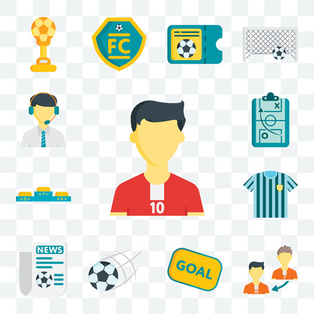 Set Of 13 transparent editable icons such as Soccer player, Player substitution, Goal, Newspaper, Referee jersey, Podium, Strategy, Commentator, web ui icon pack Foto de archivo - 106835778