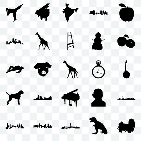Set Of 25 transparent icons such as shih tzu, t rex, las vegas, denver, charlotte, apple, pocket watch, grand piano, boxer dog, dallas, india map, web UI transparency icon pack