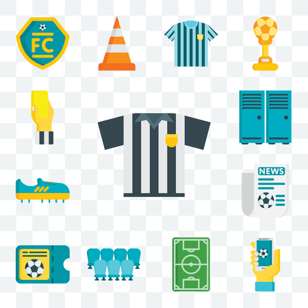 Set Of 13 transparent editable icons such as Referee, App, Soccer field, Seats, Ticket, Newspaper, Boots, Lockers, card, web ui icon pack