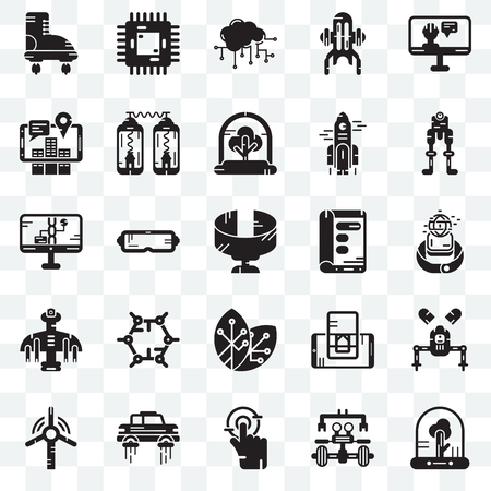 Set Of 25 transparent icons such as Tree, Robot, Tap, Flying car, Windmill, Display, Renewable energy, Drone, Augmented reality, Cloud computing, Chip, web UI transparency icon pack
