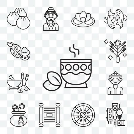 Ensemble de 13 icônes modifiables transparentes telles que thé, boussole, défilement, sac d'argent, chinois, médecine traditionnelle, feux d'artifice, litchi, pack d'icônes web ui
