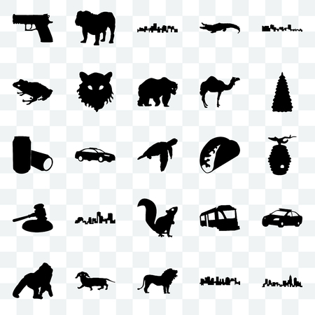 Set Of 25 transparent icons such as north carolina state, norway, lion, dachshund, gorilla, christmas tree, taco, , gavel, frog, virginia dog, web UI transparency icon pack Vettoriali