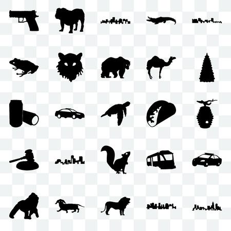 Set Of 25 transparent icons such as north carolina state, norway, lion, dachshund, gorilla, christmas tree, taco, , gavel, frog, virginia dog, web UI transparency icon pack Illustration