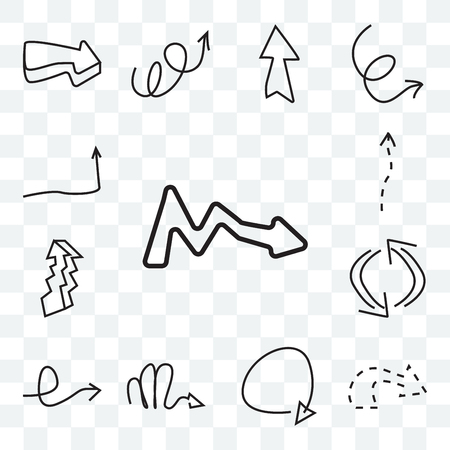 Set Of 13 transparent icons such as Right arrow, Turn right arrow with broken line, Updating Scribble Rotated web ui editable icon pack, transparency set Ilustração Vetorial