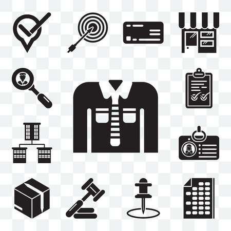 Set Of 13 transparent editable icons such as Clothing, Office material, Push pin, Judging, Packing, Id card, Offices, Check mark, Worker, web ui icon pack