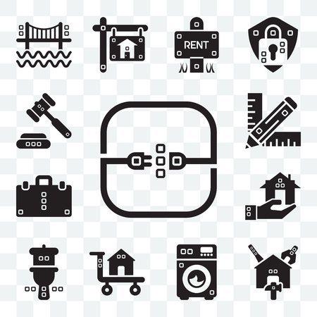 Set Of 13 transparent editable icons such as Electric, Reparation, Cleaned, Carrier, Wc, Real estate, Book bag, Graphic de, Ceremonial, web ui icon pack