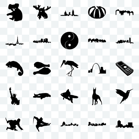 Set Of 25 transparent icons such as montana, jamaica, missouri, ninja, oklahoma, goldfish, statue of liberty, paris, alabama, moose head, web UI transparency icon pack
