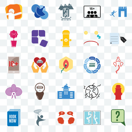 Set Of 25 transparent icons such as inquiry, broken glass, join us, book now, request a quote, discussion board, municipal, orchid, waterfall, telecom, web UI transparency icon pack