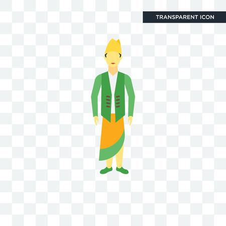 Indonesian man illustration icon isolated on transparent background
