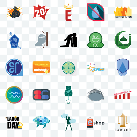 Set Of 25 transparent icons such as lawyer, eshop, ambition, sea turtle, labor day, masjid, preschool, abortion, aquarius, neptune, e crown, 20% off, web UI transparency icon pack Ilustração