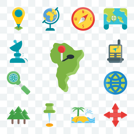 Set Of 13 transparent editable icons such as South america, Arrows, Sea, Pin, Tree, Globe, Search, Navigation, Satellite, web ui icon pack Vectores