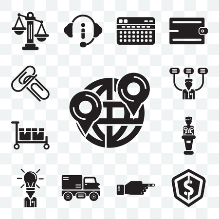 Set Of 13 transparent editable icons such as Maps and Flags, Dollar, Decree, Trucking, Businessman, Presentation, Packing, Boss, Attachments, web ui icon pack