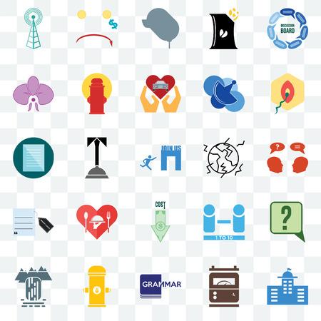 Set di 25 icone trasparenti come municipale, inchiesta, penetrazione, riduzione dei costi, cascata, idrante, numero di giocatori, specifiche, pacchetto di icone di trasparenza dell'interfaccia utente web, pixel perfetto Vettoriali