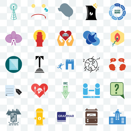 Set Of 25 transparent icons such as municipal, inquiry, penetration, cost uction, waterfall, fire hydrant, number of players, specification, web UI transparency icon pack, pixel perfect