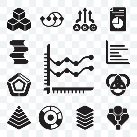 Set Of 13 transparent icons such as Line chart, Pie chart and connections, Layer, Pyramid Venn diagram, Pentagonal web ui editable icon pack, transparency set