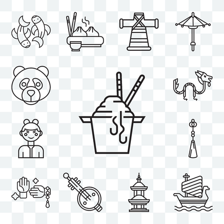 Set Of 13 transparent editable icons such as Noodles, Ship, Temple, Music, Martial arts, Chinese knot, Chinese, Dragon, Panda, web ui icon pack 向量圖像