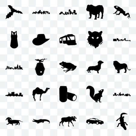 Set Of 25 transparent icons such as alligator, police car, moose, dachshund, cuba, beer can, state of ohio, tank top, louisiana, virginia state, web UI transparency icon pack