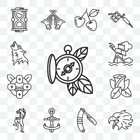 Set Of 13 transparent editable icons such as Compass, Eagle, Razor, Anchor, Rose, Lifesaving, Ship, Wolf, web ui icon pack Stock Illustratie