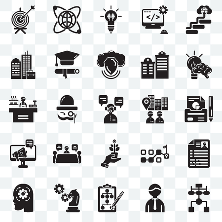 Set Of 25 transparent icons such as Flow chart, Worker, Strategy, Cogwheel, Idea, Visitor, Growth, Advertising, Building, Creativity, Globe, web UI transparency icon pack