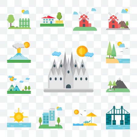 Set Of 13 transparent editable icons such as Barcelona, Bridge, Beach, City, Sunrise, Mountains, Indian, Lake, Volcano, web ui icon pack