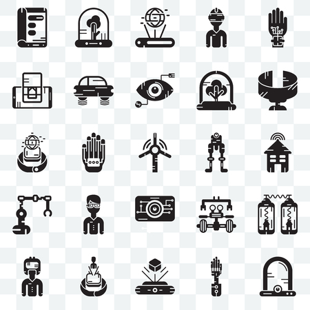 Set Of 25 transparent icons such as Egg incubator, Smart house, Panoramic view, Tree, Augmented reality, Flying car, Robot, Smartwatch, web UI transparency icon pack, pixel perfect