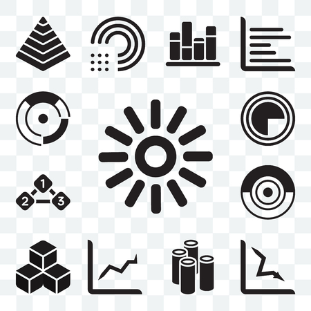 Set Of 13 transparent icons such as Loading indicator, Loss chart, Column Line Cubes, process, Item Interconnections, Chart pie, web ui editable icon pack, transparency set Vectores