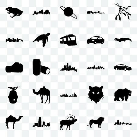 Set Of 25 transparent icons such as new jersey, lion, elk, camel, alligator, virginia state, michigan beehive, norway, saturn, louisiana, web UI transparency icon pack Illustration