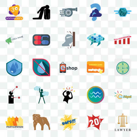 Set Of 25 transparent icons such as lawyer, 20% off, oops, dog, participation, high performance, scratch card, panic, symptoms, call now, turbo, execution, web UI transparency icon pack Illustration