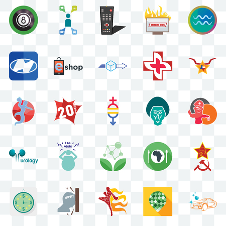Set Of 25 transparent icons such as carwash, pine cone, muay thai, frustration, estimate, texas star, baboon, antioxidant, urology, h, tv remote, campaign management, web UI transparency icon pack